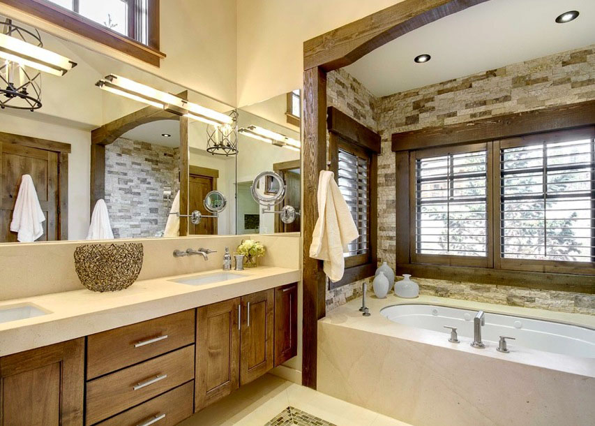 when your bathroom employs a natural color palette backed up by warm materials relaxing baths are surely part of your routine with a modern rustic appeal