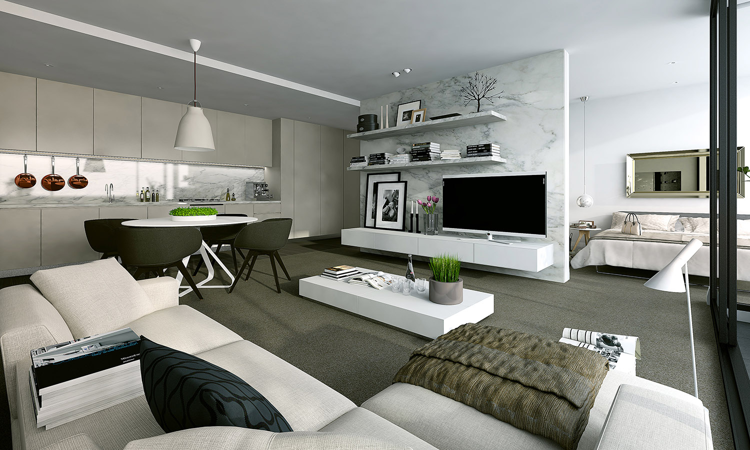 2 White Modern Studio Design