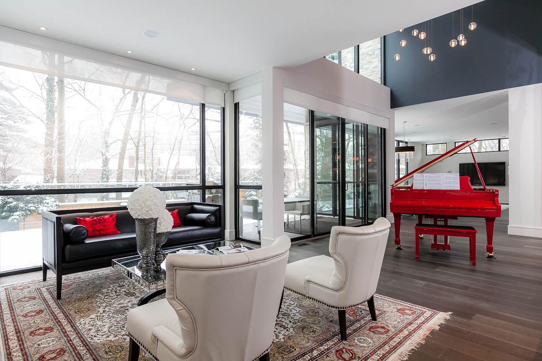 7 Ashley Park Road Architecture Design -> Sala Simples Clean