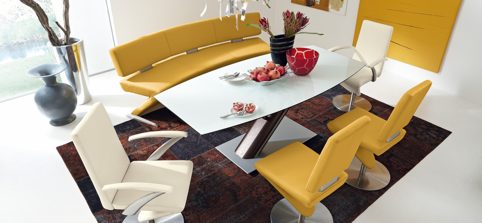 Exceptionnel 8 Modern Yellow Leather Dining Set