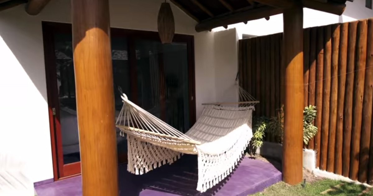 Every villa has a veranda that looks out at the ocean.
