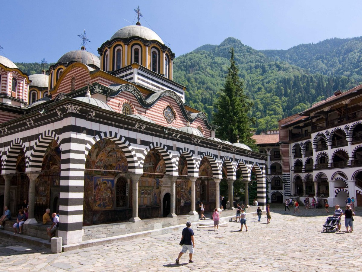 Find solace at the Rila Monastery, an Eastern Orthodox monastery in Bulgaria.