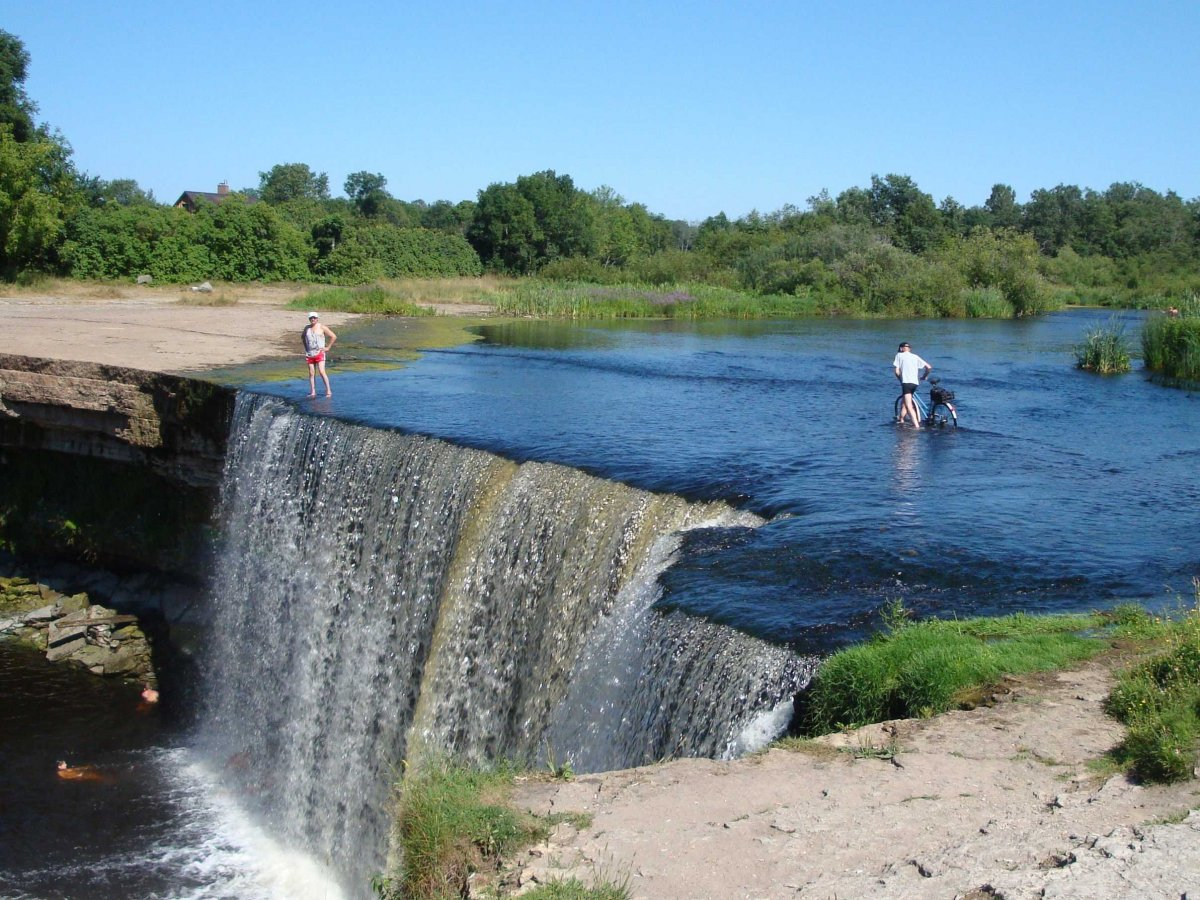 "Hear the roar of Jägala Fall in Estonia, called ""the Niagara Falls of the Baltics."""