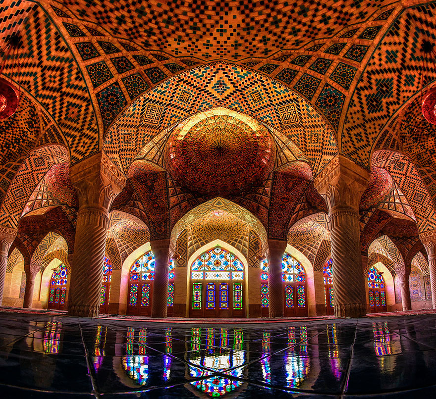Nasir Ul Molk Mosque With All Of The The Rainbow Colors