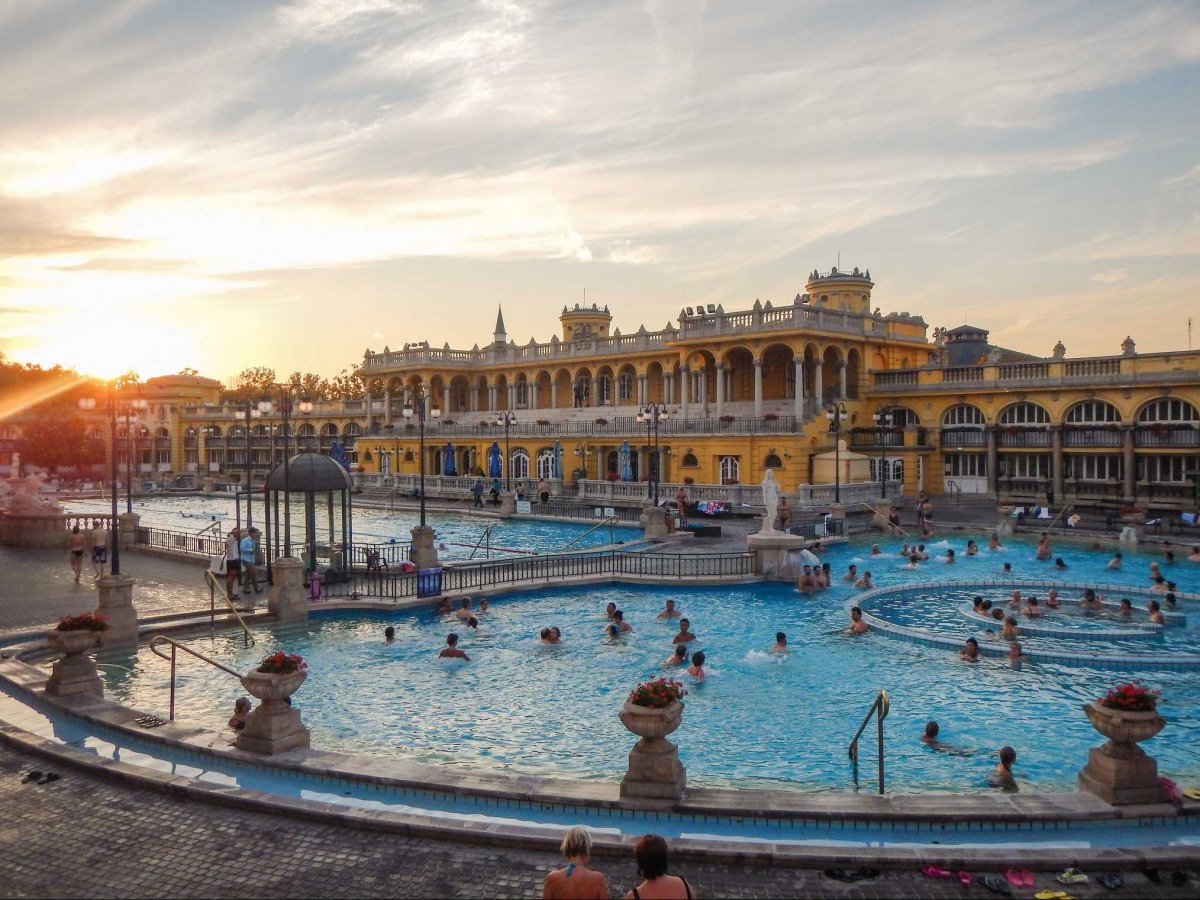 Take a dip in a thermal bath in Budapest, Hungary.