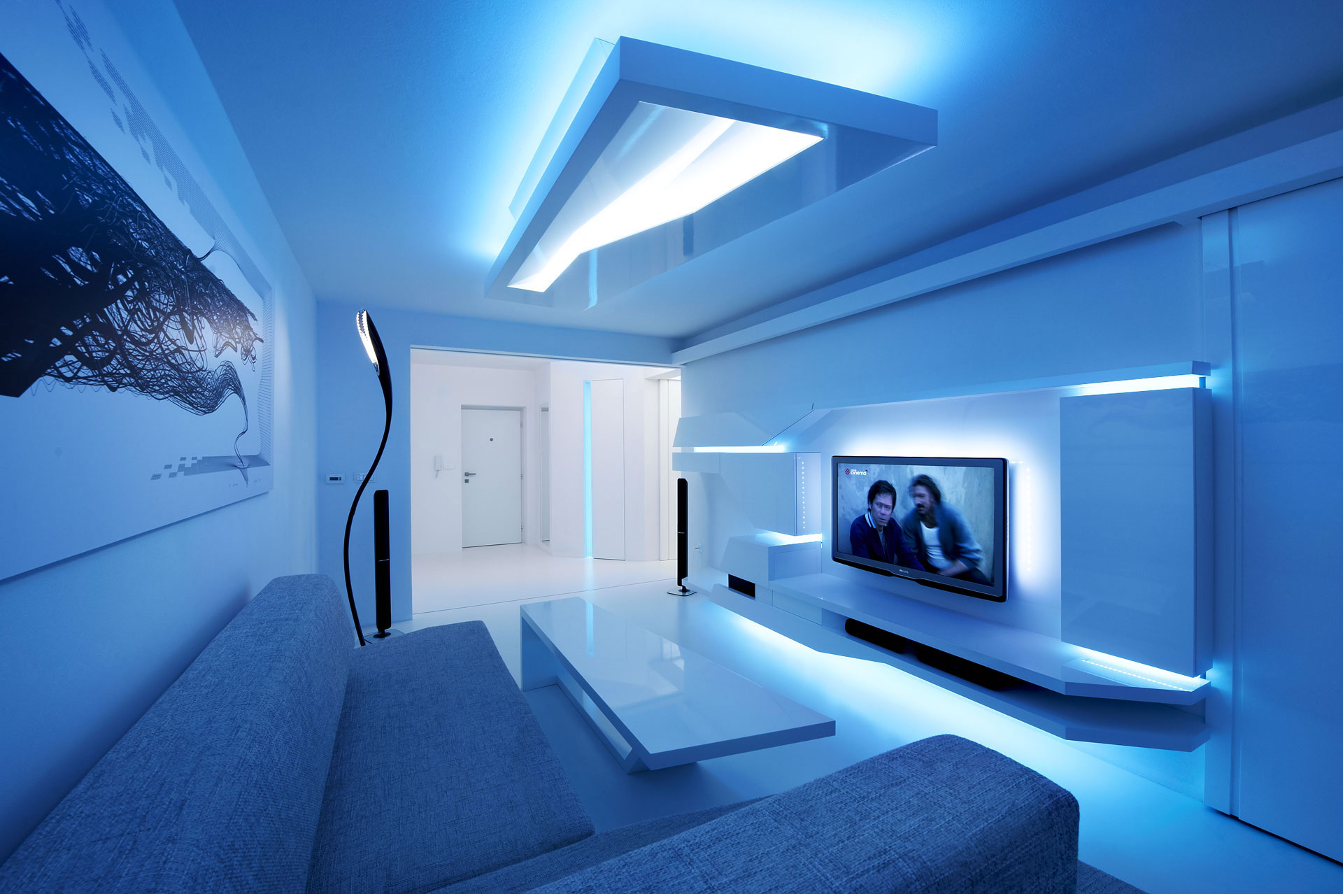 futuristic living room white apartment by next level studio architecture amp design 10515