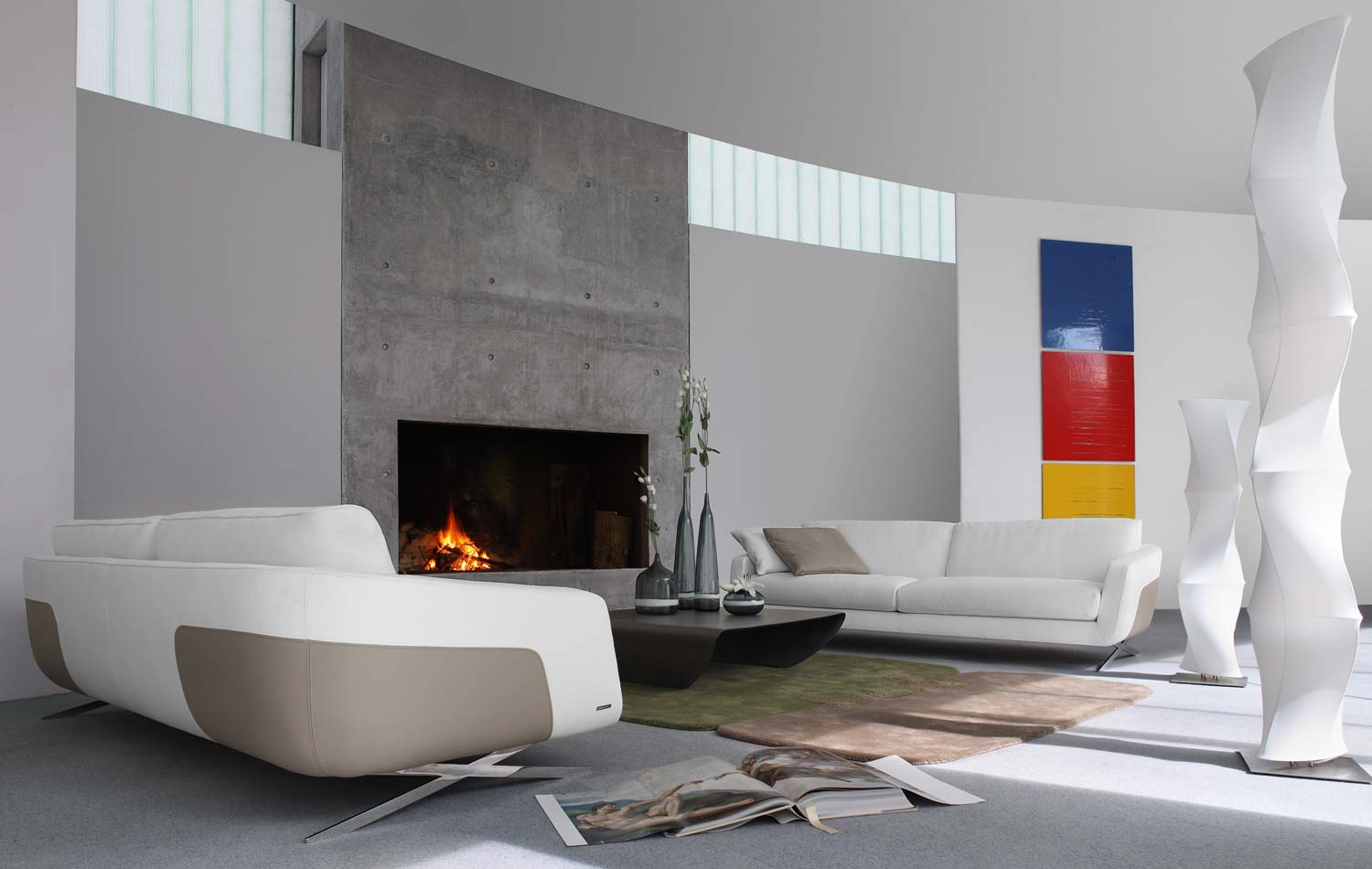 Living room inspiration 120 modern sofas by roche bobois for Salones modernos con chimenea