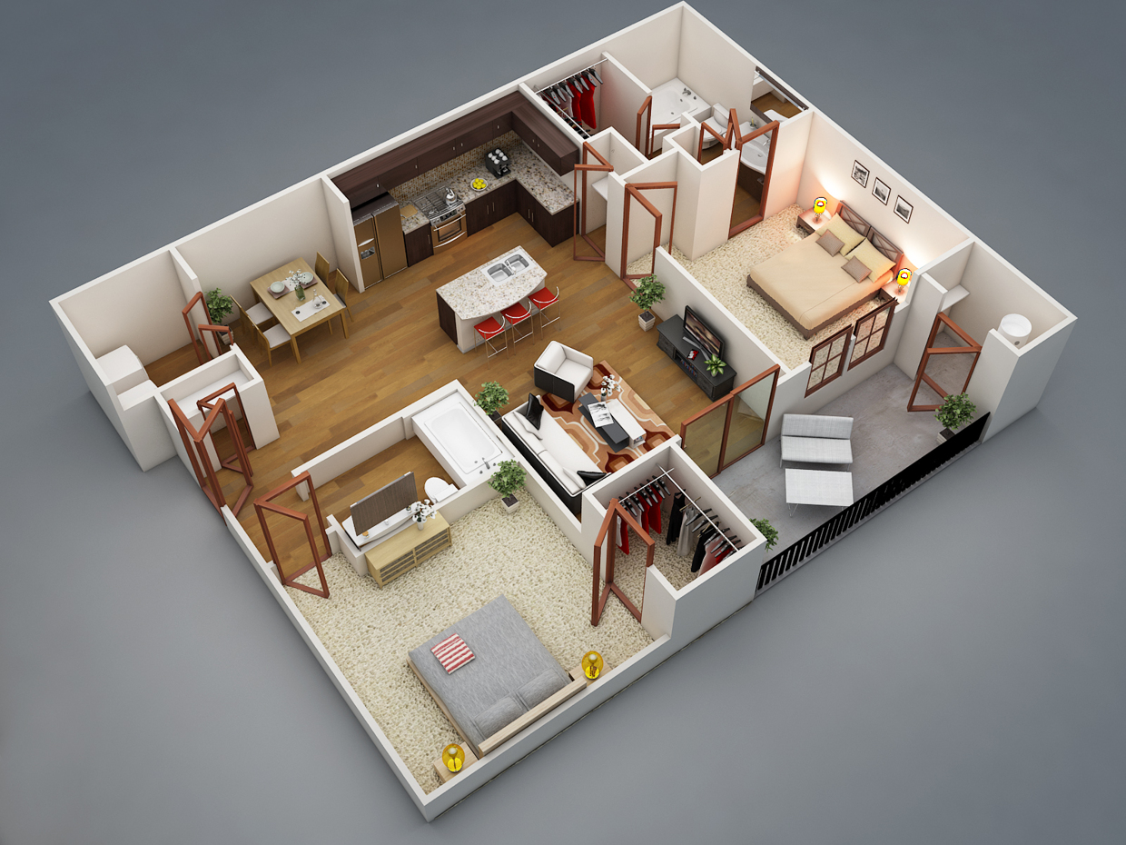 50 two 2 bedroom apartment house plans architecture Bedroom plan design
