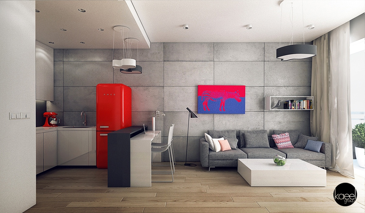 Living Room Design With Red Walls