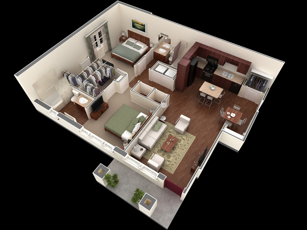 Marvelous 11 Simple Two Bedroom Apartment PLan