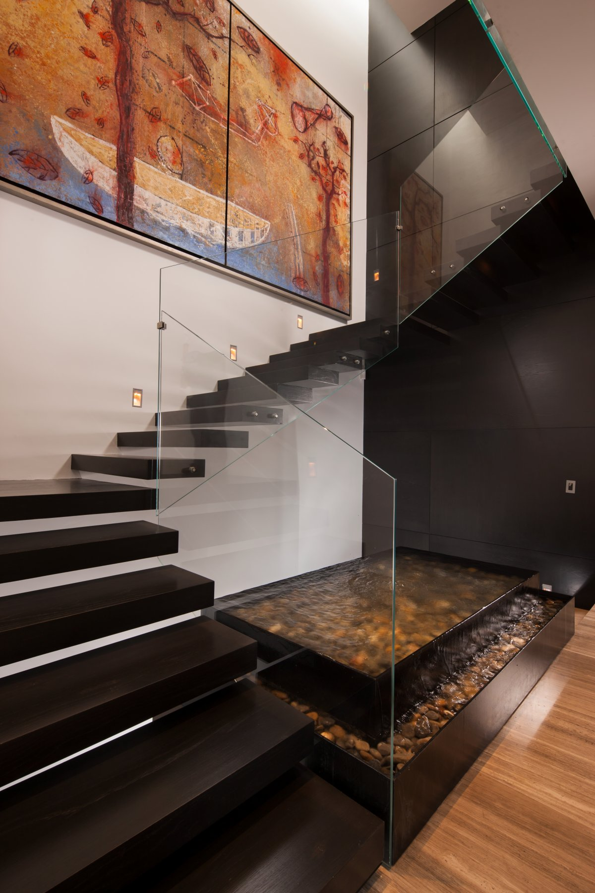 20 glass staircase wall designs with a graceful impact on for How to design a photo wall