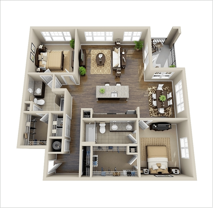 10 awesome two bedroom apartment 3d floor plans architecture design - Design of three room apartment ...