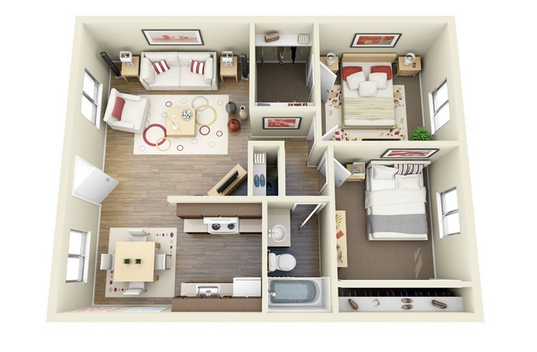 "Apartment Floor Plans 2 Bedroom 50 two ""2"" bedroom apartment/house plans 