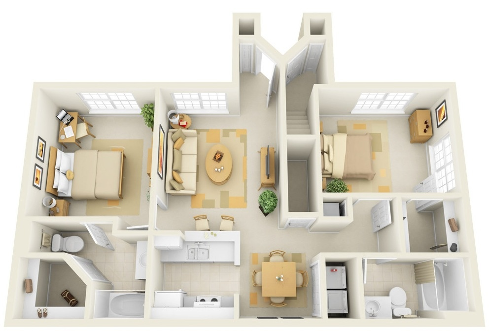 captivating house floor plans line ideas best house plans online 17-Incore-Residential-Two-Bedroom-Apartment-Plan