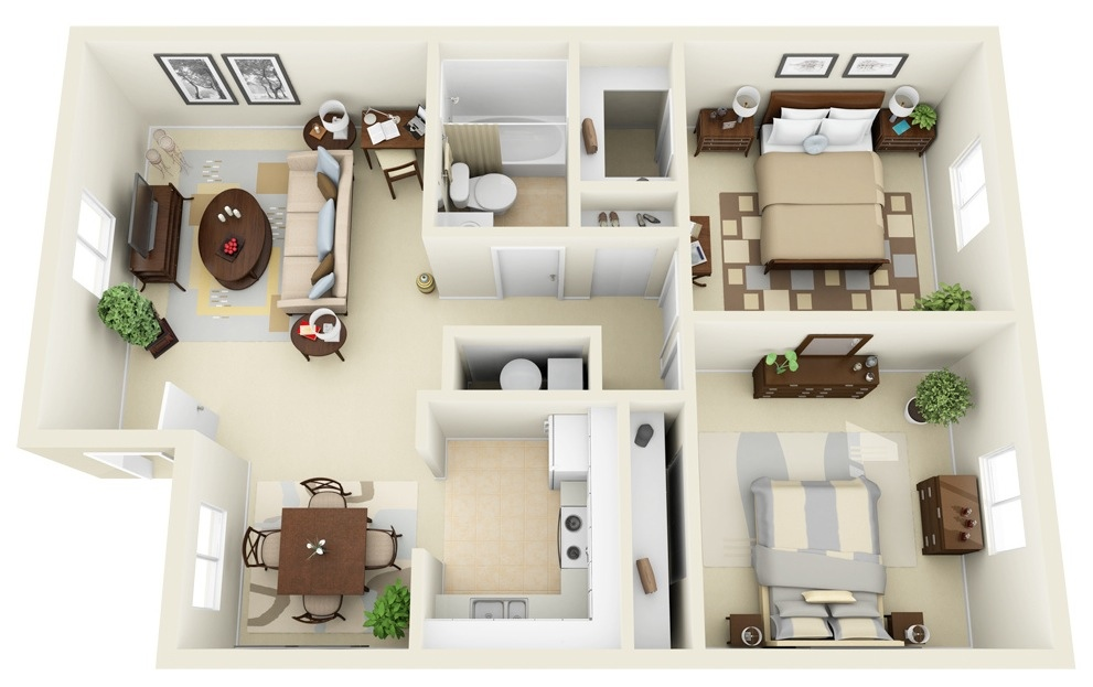 50 Two quot2quot Bedroom ApartmentHouse Plans Architecture  : 20 Incore Residential Two Bedroom Floor Plan from www.architecturendesign.net size 991 x 623 jpeg 153kB
