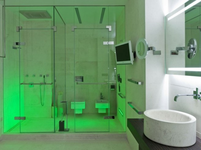 Exceptional Bathroom Shower Lighting Ideas Part - 14: No, Just A Futuristic And Stylish Bathroom With An Original Lighting  System. The Decoration Is Minimalist, So The Lights Can, Literally, Shine.