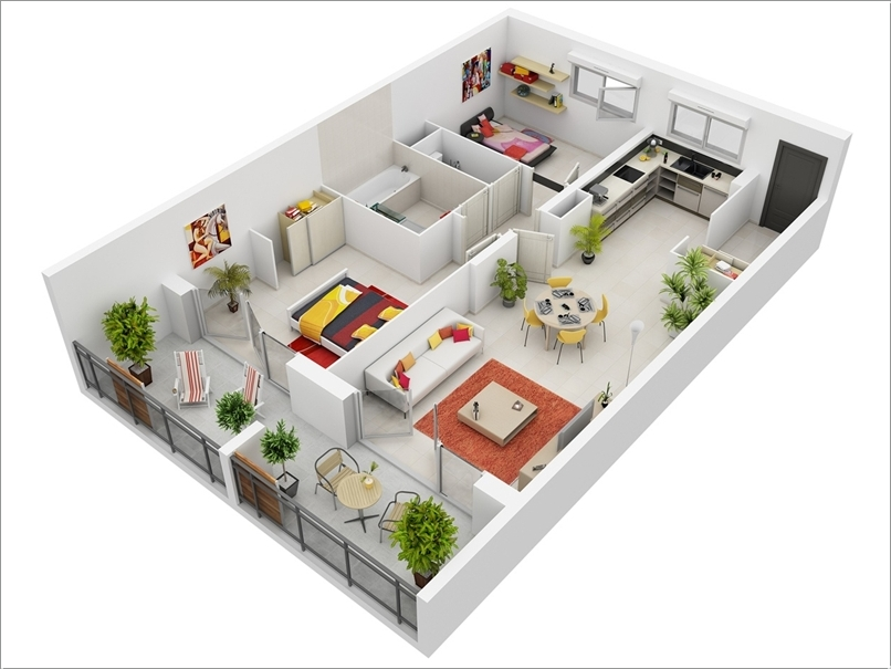 2 - Simple House Plan With 2 Bedrooms 3d