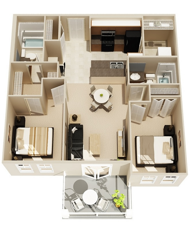 "No Bedroom Apartment: 50 Two ""2"" Bedroom Apartment/House Plans"