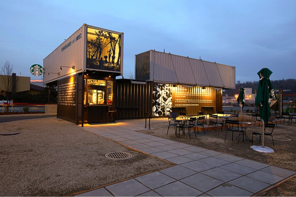 22 Starbucks Recycled Shipping Containers