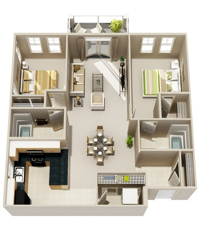 23 two bedroom two bath floor plan - 2br Open Floor House Plans