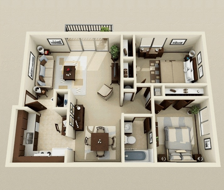 Two Bedroom ApartmentHouse Plans Architecture Design - Simple 2 bedroom house design