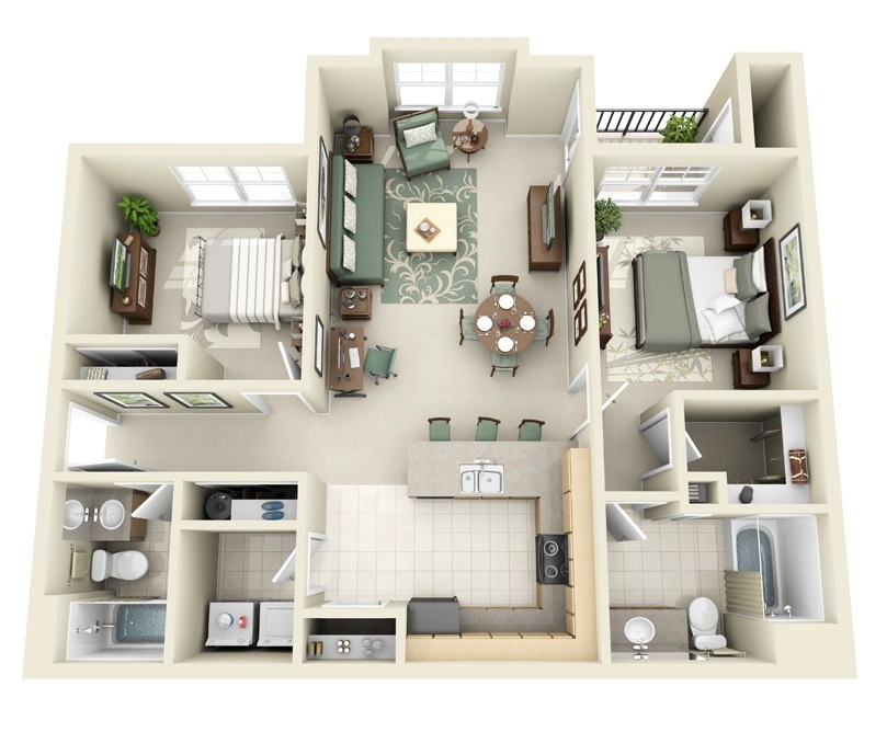 26 Sophisticated Two Bedroom Apartment. 50 Two  2  Bedroom Apartment House Plans   Architecture   Design