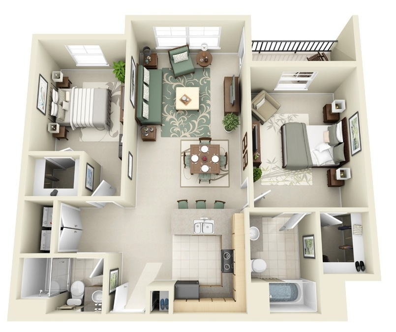 50 two 2 bedroom apartment house plans architecture for Small bedroom with attached bathroom designs
