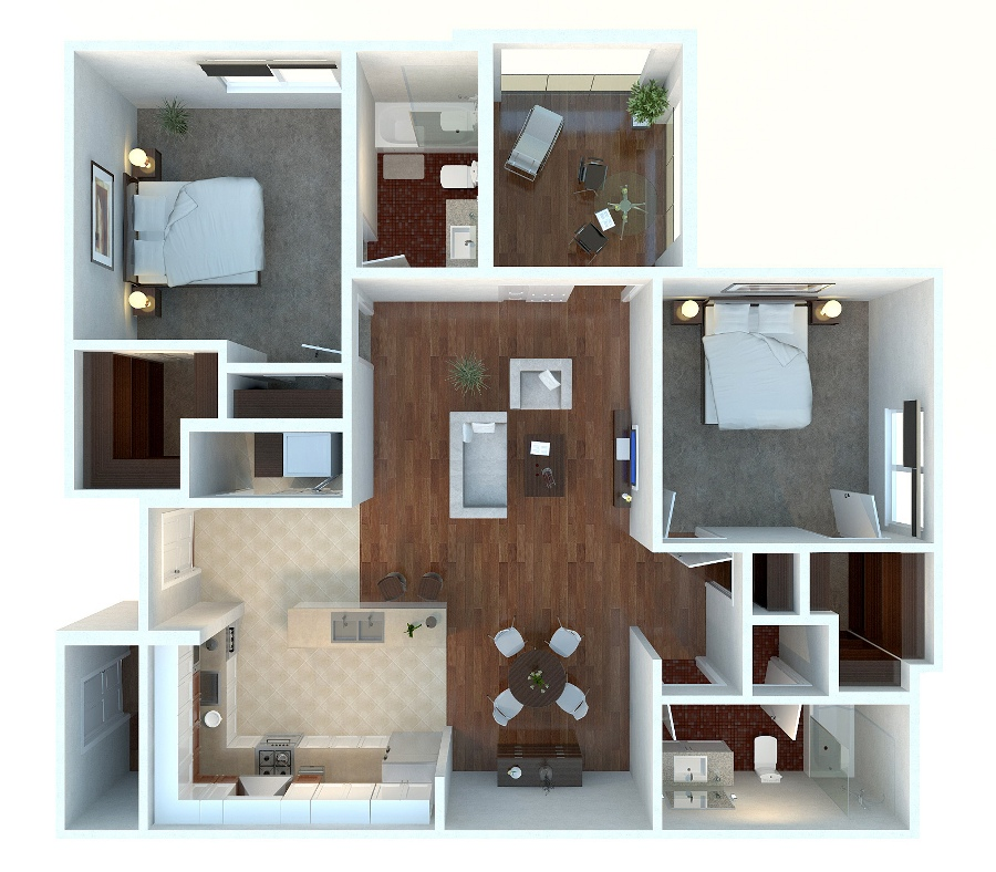 "Simple House Plan With 2 Bedrooms 3d 50 two ""2"" bedroom apartment/house plans 