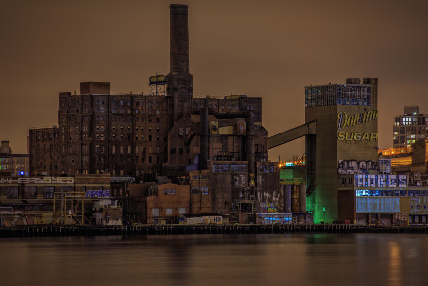 The Domino Sugar Factory in Darkness