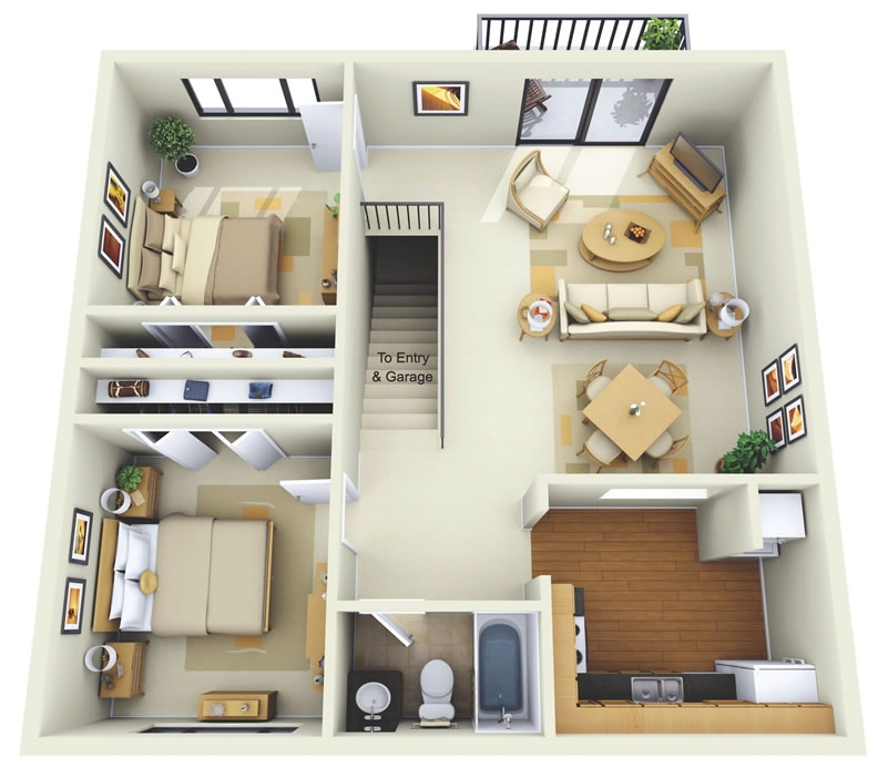 "50 Two ""2"" Bedroom Apartment/House Plans"