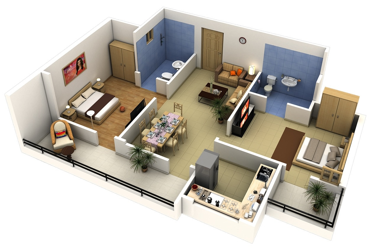 50 Two  U0026quot 2 U0026quot  Bedroom Apartment  House Plans