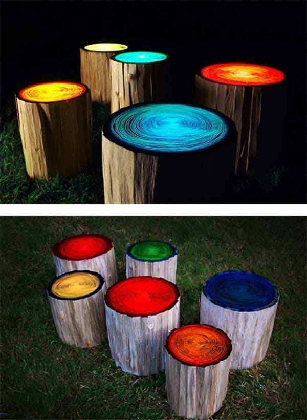 39-Log-stools-painted-with-glow-in-the-dark-paint