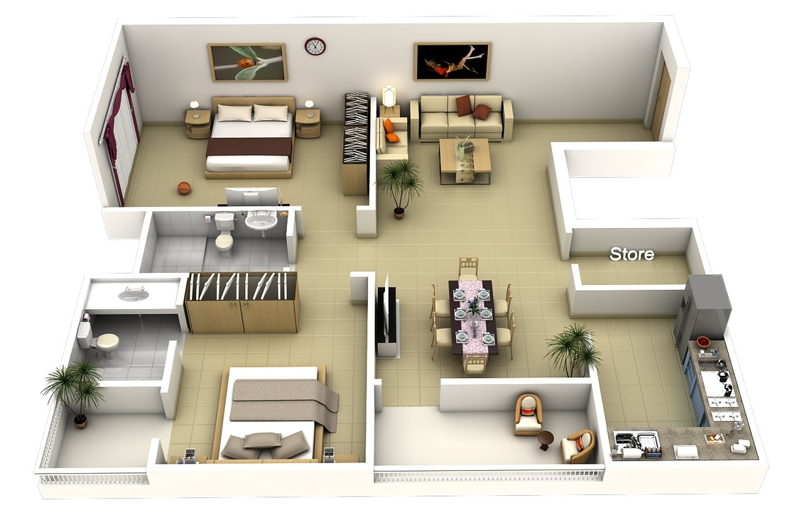 50 Two 2 Bedroom Apartmenthouse Plans Architecture Design - Apartment-bedroom-designs