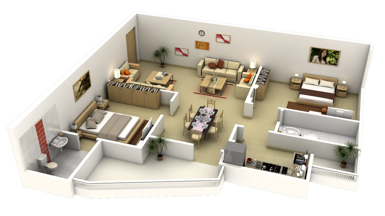 "Modern Apartment Interior Design Plans 50 Two ""2"" Bedroom Apartmenthouse Plans  Architecture & Design"
