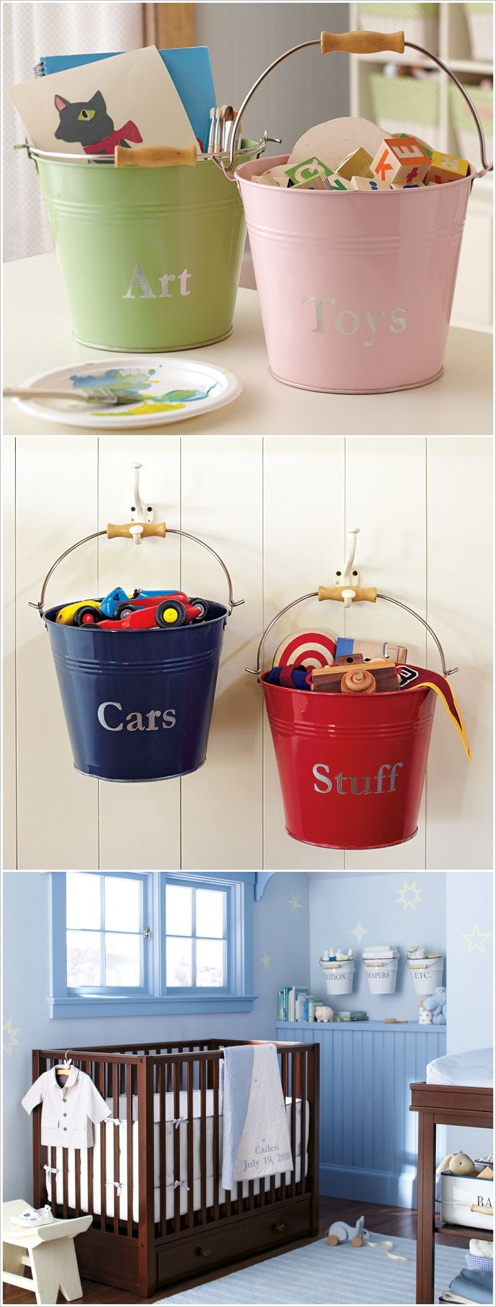 3 | Place Or Hang Metal Buckets For Storage