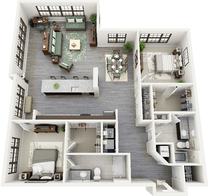 "East Gate Apartments: 50 Two ""2"" Bedroom Apartment/House Plans"
