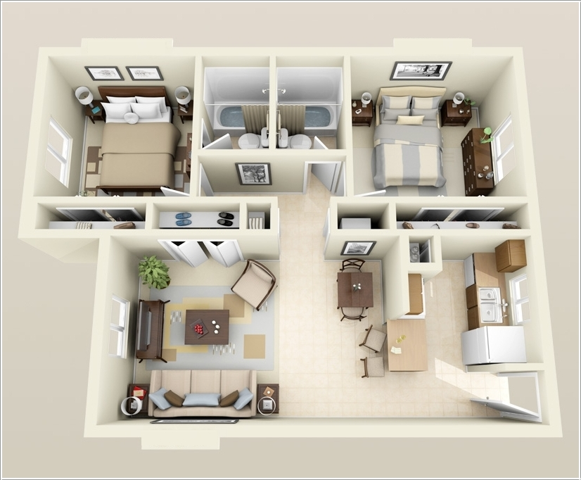 10 Awesome Two Bedroom Apartment 3d Floor Plans Architecture Amp Design