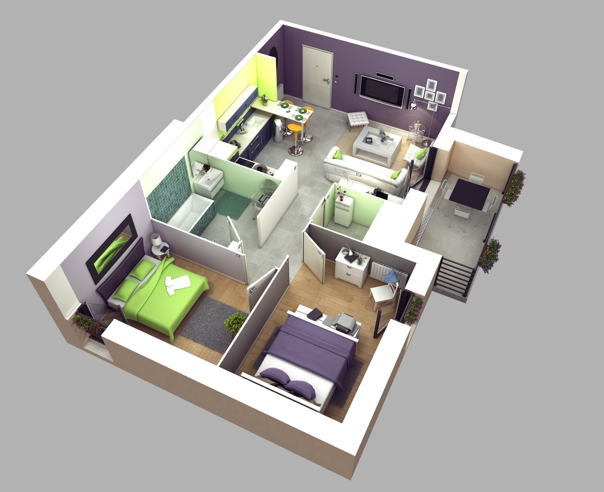 50 two 2 bedroom apartment house plans architecture ForTwo Bedroom Plan