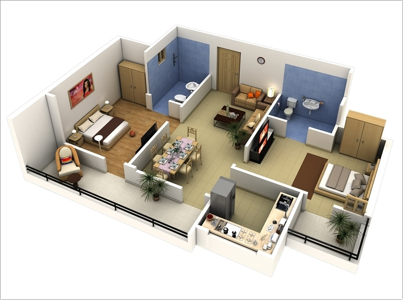 5 - Simple House Plan With 2 Bedrooms 3d