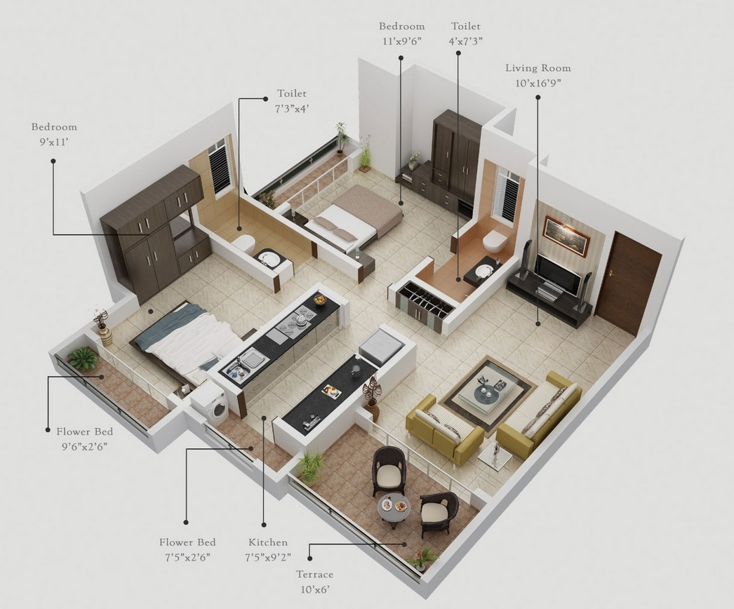 7 Two Bedroom with Patios 50 Two 2 Bedroom ApartmentHouse Plans