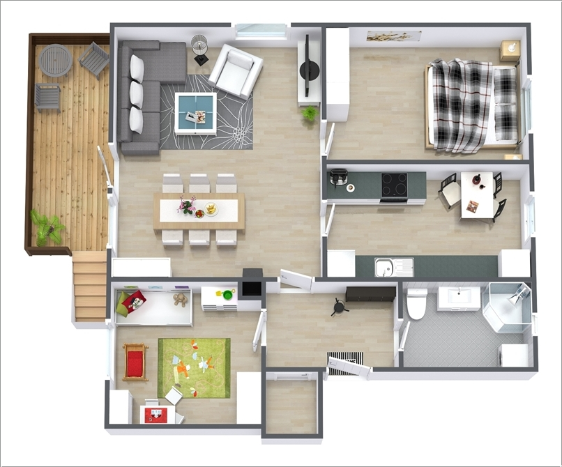 10 awesome two bedroom apartment 3d floor plans - Architectural plan of two bedroom flat with dining room ...