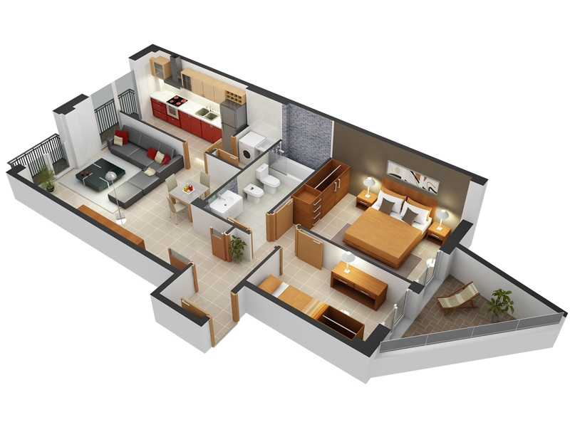 fantastic 2 room flat floor plan. 8 Two Bedroom Apartment with Unique Balcony 50  2 House Plans Architecture Design