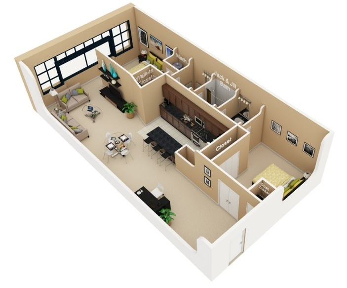 50 two 2 bedroom apartment house plans architecture for 2 bedroom cabin plans with loft