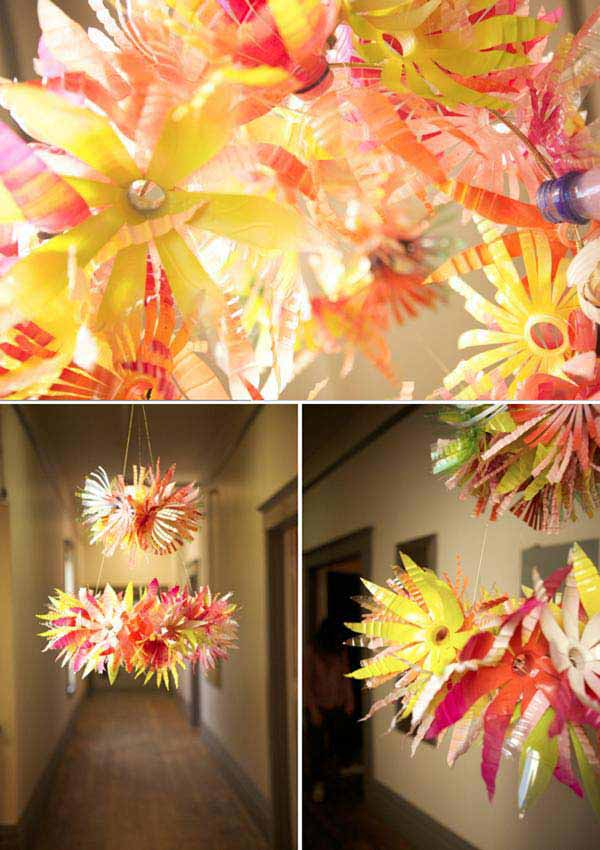 40 diy decorating ideas with recycled plastic bottles for Making of decorative item from waste material