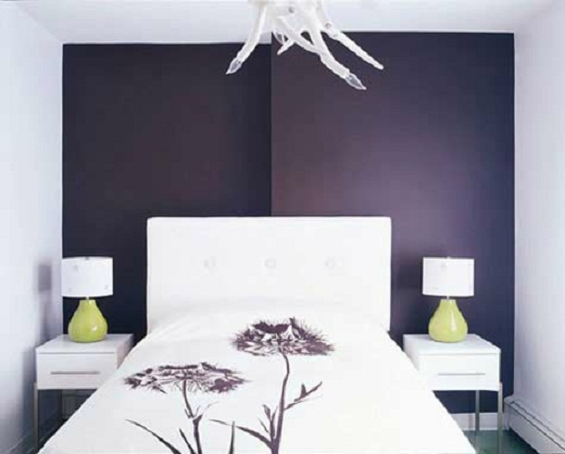 The Sophisticated Dark Color On Background Makes Bedroom Seem Bigger Purple Wall Matches Detail Bedspread But Also Plays Nicely