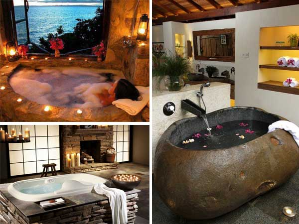 21 Natural Stone Bathtub Ideas for Your Classy Bathroom ...