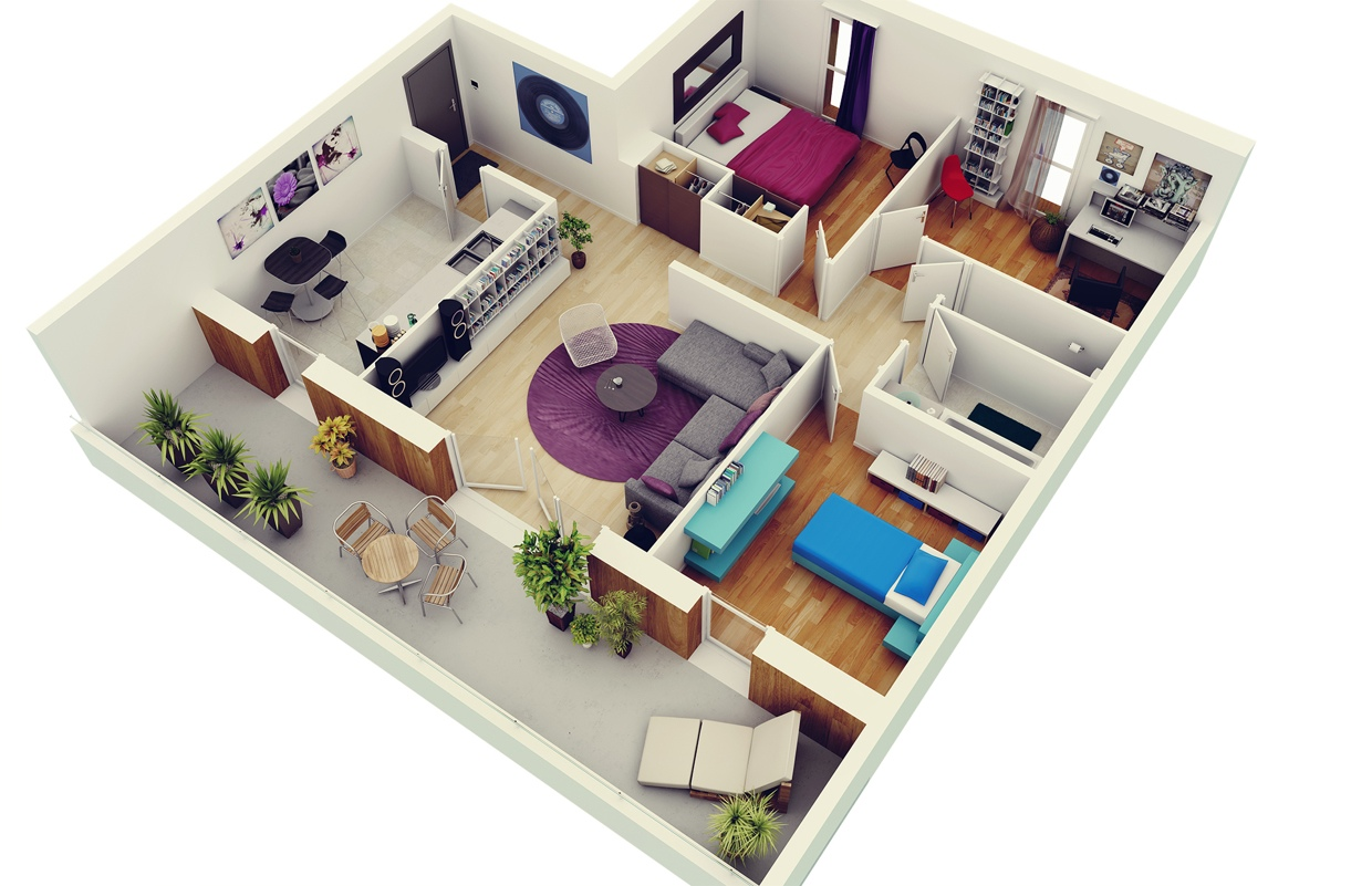 1 3 Bedroom Apartment Plans