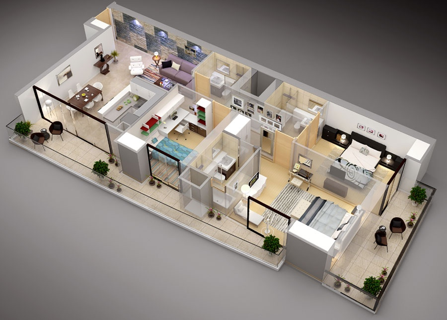 11 3 Bedroom Floor Plan With Balcony