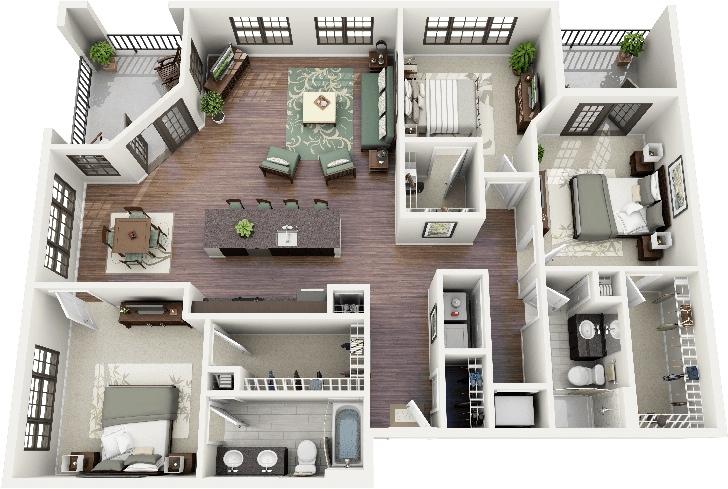 50 Three 3 Bedroom Apartment House Plans Architecture Design