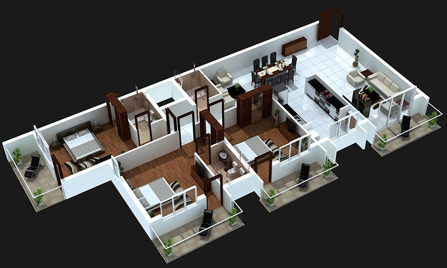 16 3 Bedroom With Balcony House Plans